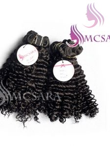 16 INCHES WEAVE CURLY HAIR EXTENSIONS BLACK