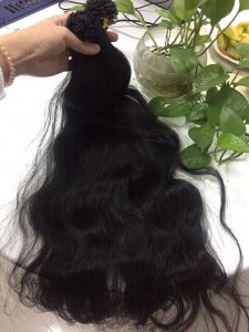 VIETNAM HUMAN HAIR FLAT TIP #1B NATURAL WAVY COLOR 1B