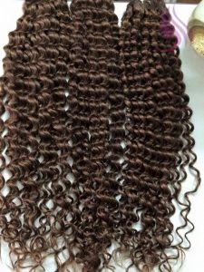 28 INCHES WEAVE CURLY HAIR EXTENSIONS BROWN