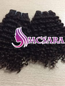 Human hair extensions machine weft hair deep curly color 1b