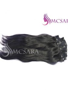 26 inch clip in straight hair extensions black color