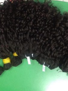 DOUBLE DRAWN VIETNAMESE HAIR BULK OLD CURLY HAIR COLOR #1B 16""