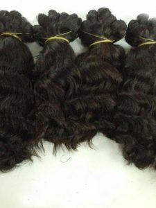 "DOUBLE DRAWN MACHINE WEFT HOT STEAM WAVY HAIR COLOR #1B 12"",14""16"""