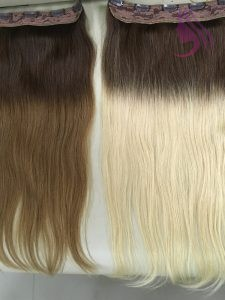 18 inches Clip in hair extenions ombre color