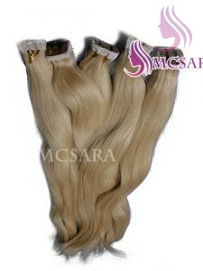 32 inches tape straight hair extensions blonde color