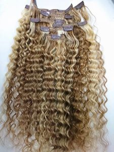 Clip in Deep Curly hair extensions 20 inches