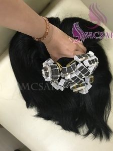 24 inches tape straight hair extensions black color