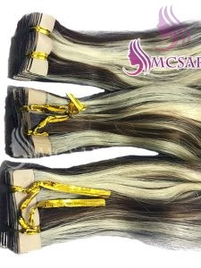 30 inches tape in wavy hair extensions piano color