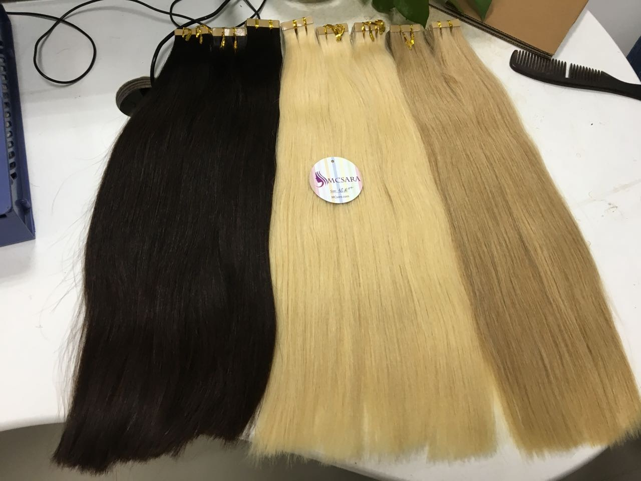 Tape Straight Hair Extensions 24 Inches Various Colors